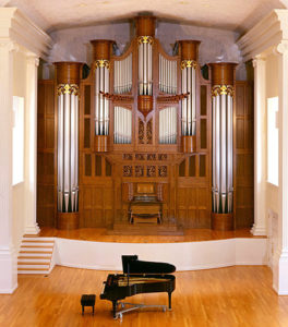 The Sewell Organ was designed by Piedmont College music professor, now President James F. Mellichamp, in collaboration with Casavant Frères of Ste. Hyacinthe, Quebec. Mellichamp performed the inaugural recital on Feb. 7, 2003.                                               (photo courtesy Piedmont College)